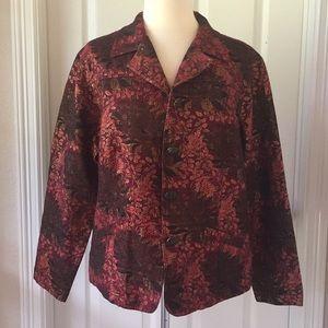Chico's Burgundy Brocade Blazer Jacket Sz XL 3